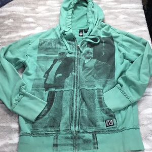 Imperial motion green zip up graphic hoodi…